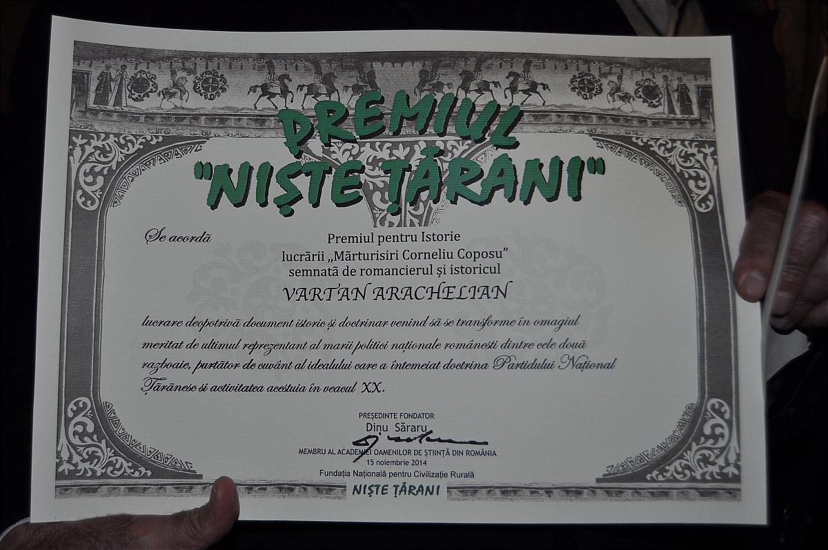 Premiile naţionale anuale ale Fundaţiei ,,Nişte ţărani'', 26.10.2014, diplomă Vartan Arachelian