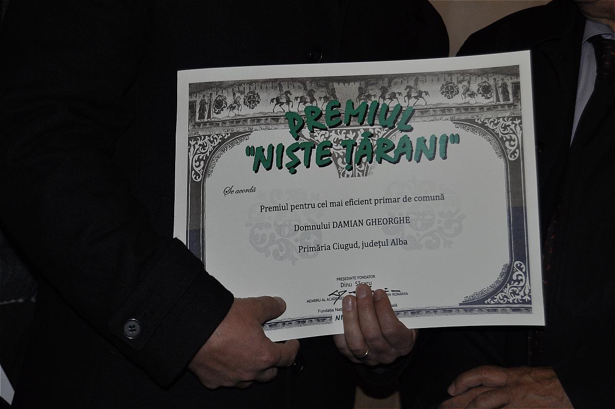 Premiile naţionale anuale ale Fundaţiei ,,Nişte ţărani'', 26.10.2014, premiul ,,Cel mai eficient primar de comună''