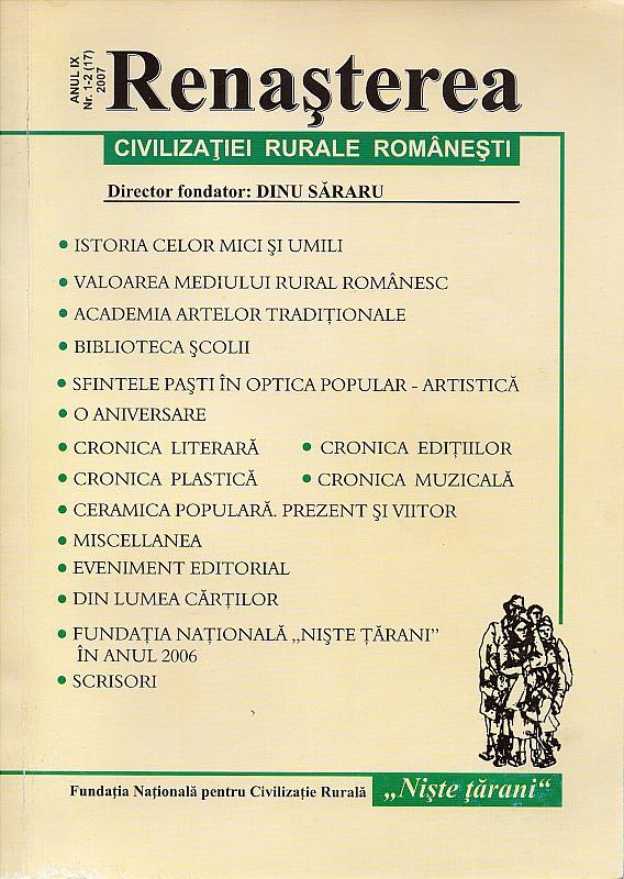 """Revista ,,RENAȘTEREA CIVILIZAȚIEI RURALE ROMÂNEȘTI"""""""