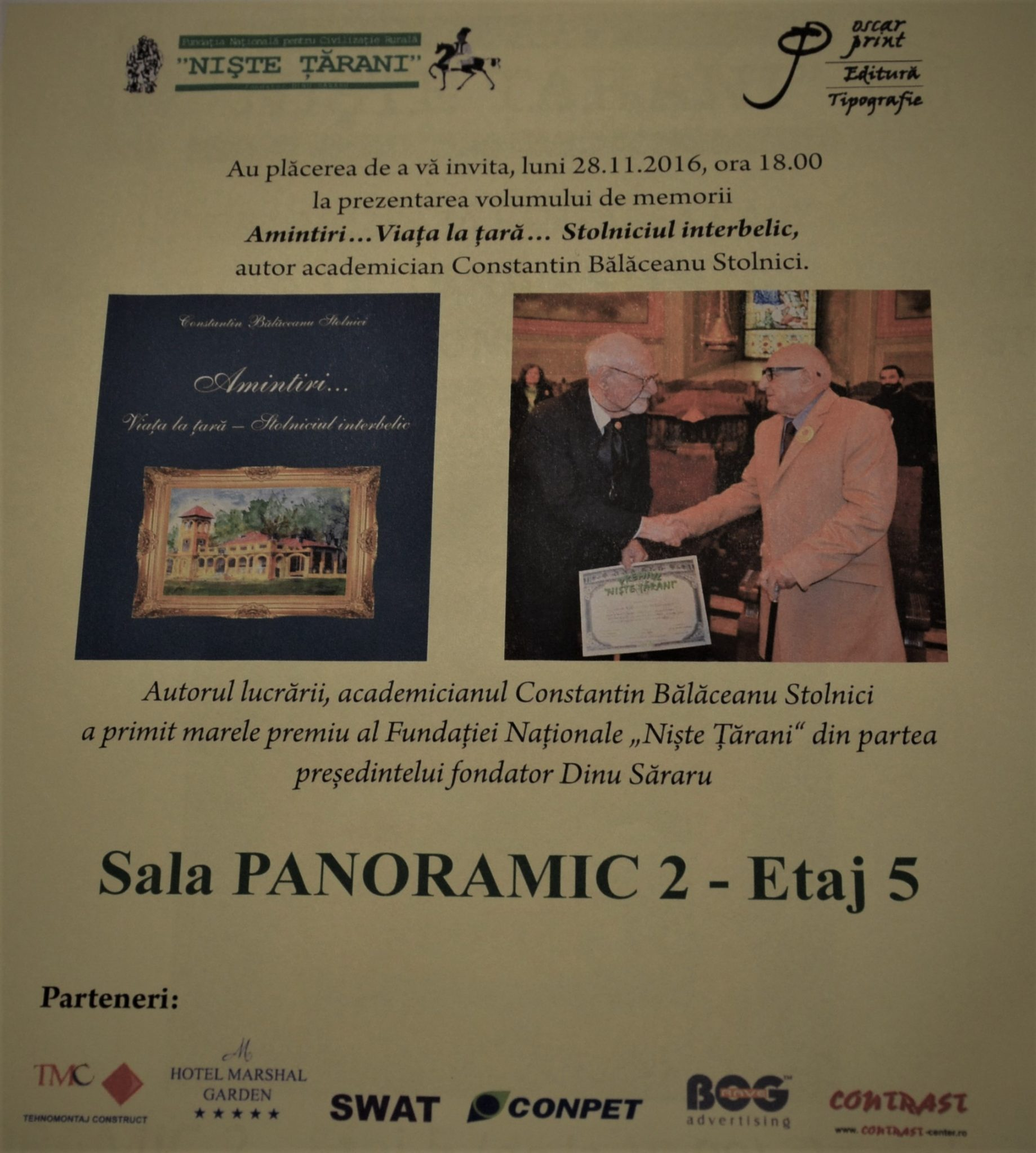 Lansare carte C. Balaceanu Stolnici - afișul evenimentului