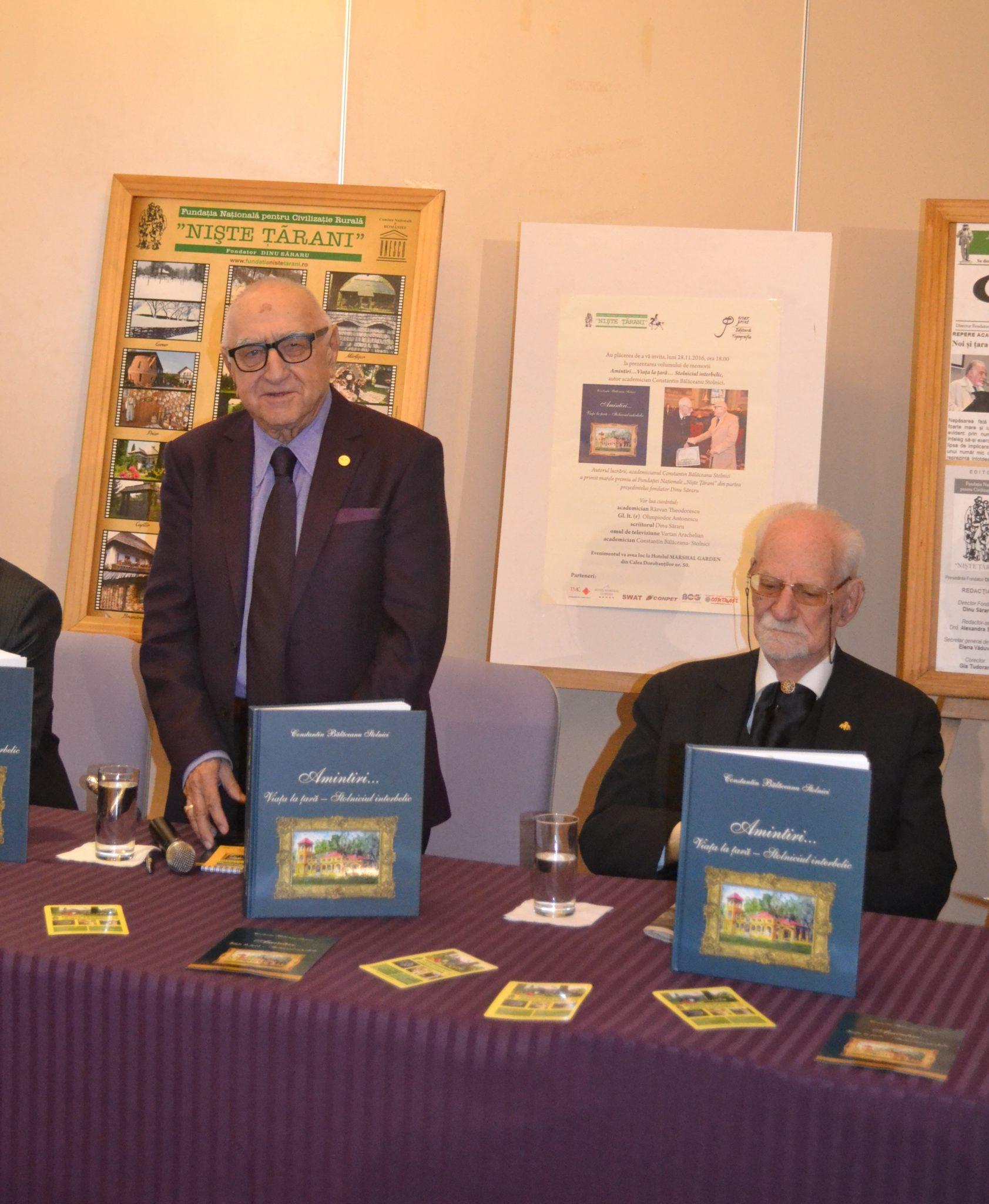 Lansare carte C. Balaceanu Stolnici - Dinu Săraru, acad.Constantin Bălăceanu – Stolnici