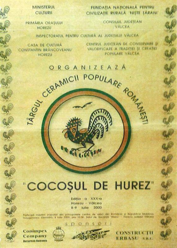 """Tărgul Ceramicii Populare Românești ,,COCOȘUL DE HUREZ"""", afișul ediției XXX, 8-9 iulie 2000"""