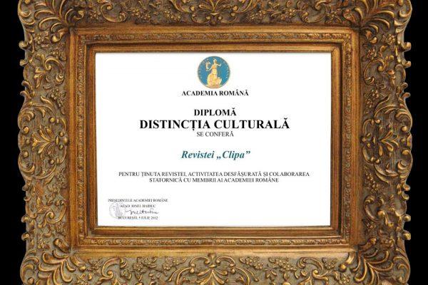 Diploma revista Clipa de la Academia Romana - 2012
